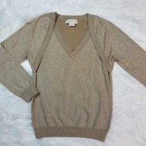 Michael Kors Metallic Knit V-neck Sweater